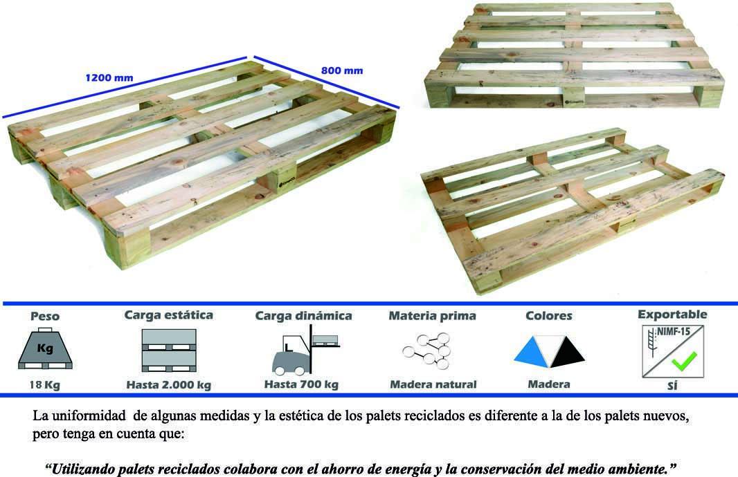 Palets reciclados 1200 x 800 fuertes palets en madrid for Medidas de palets de madera
